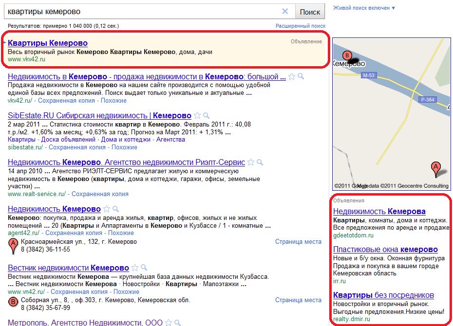 рекламные блоки системы контекстной рекламы Google.Adwords